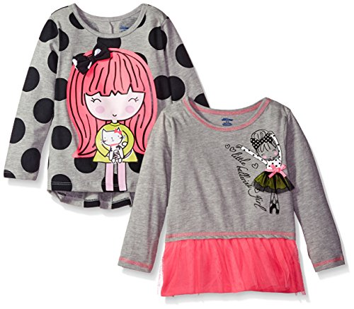 Gerber Graduates Baby Little Girls' 2 Pack Tops with Tulle Ruffle, Polka Dot Girl/Gray Ballet, 4T by Gerber Graduates