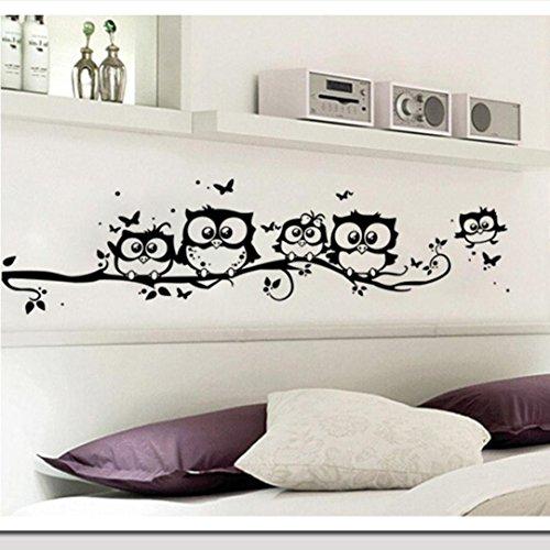 Robiear Kids Vinyl Art Cartoon Owl Butterfly Wall Sticker De