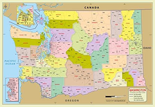 Washington County with Zip Code Map (36