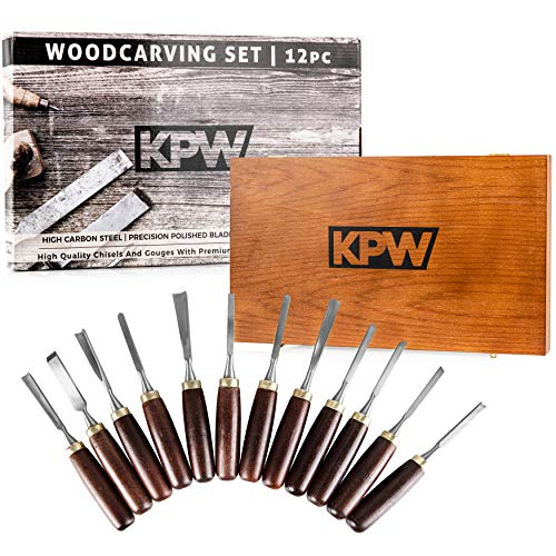 KPW Professional Wood Chisel Set with Wooden Presentation Box | Woodworking & Carving Tools with Chrome Vanadium Steel Blades & Walnut Handles | Lifetime Replacement | Ergonomically Designed |