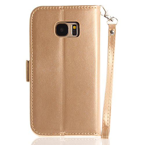 Slots With Leather Handmade 6 S Strap Stand Pattern Case Wallet gold Soft Magnetic Butterfly Card Color Samsung Galaxy Pu Classic For S7 herzzer Shockproof Premuim S7 Flip BqHqxfn