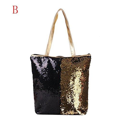 Shoulder Bag, Creazy Women Girl Sequins Glitter Mermaid Backpack School Travel Rucksack (B) by ®CreazyDog