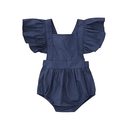 96778e00d78 Amazon.com  Hatoys Infant Toddler Baby Girl Ruffles Sleeve Backless ...