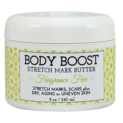 Body Boost Fragrance Free Stretch Mark Butter, 8 oz, Pregnancy and Nursing Safe Skin Care