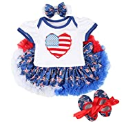 Slowera Baby Girls 4th of July American Flag Romper Dress Outfits Clothes (L: 9-12 Months, Style 3)