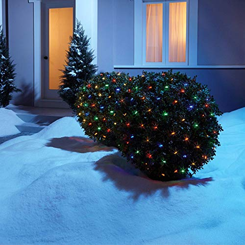 NOMA LED Net Christmas Lights | 100-Count Mini Lights | 4 ft x 4 ft Mesh | Outdoor/Indoor | Perfect for Bushes or Trees | Multi-Color (Lights Netting Christmas)