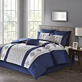 Claudine Embroidered 8 Piece Comforter Set Navy Cal King