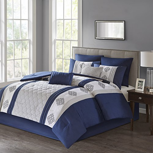 Claudine Embroidered 8 Piece Comforter Set Navy Cal King by 510 Design