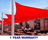 Quictent 24 x 24 ft 185G HDPE Square Sun Sail Shade Canopy UV Block Top Outdoor Cover Patio Garden Red