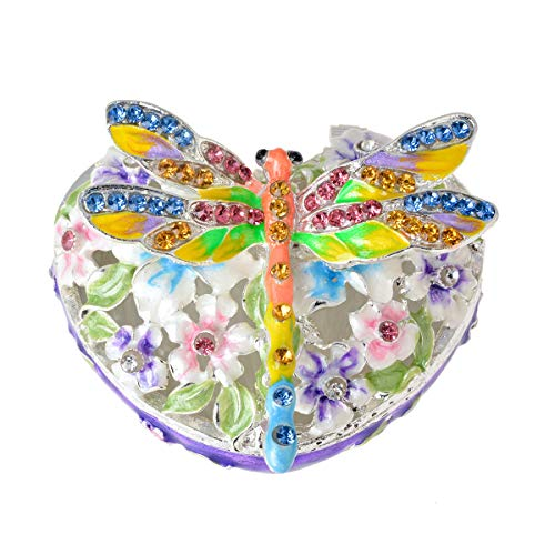 FZJ Handmade Enmeled Dragonfly Jewelry Trinket Box for Souvenir - Gift - Home Decor
