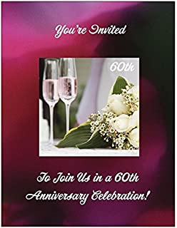 60th wedding anniversary invitations champagne glasses 25pk