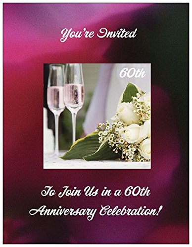 (60th Wedding Anniversary Invitations with Champagne Glasses - 50/pk)