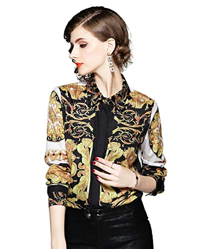 Women's Shirts Paisley Print Long/34 Sleeve Button up Casual Blouse Top ()
