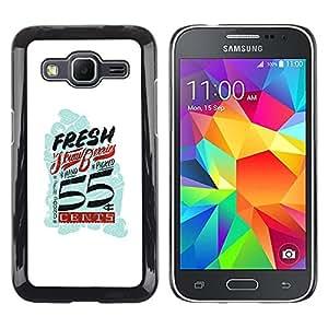 Be Good Phone Accessory // Dura Cáscara cubierta Protectora Caso Carcasa Funda de Protección para Samsung Galaxy Core Prime SM-G360 // Fresh Vintage Retro White Blue Cents