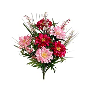 "20"" Zinnia/Bell Flower Bush x12 Beauty Pink (Pack of 12) 31"