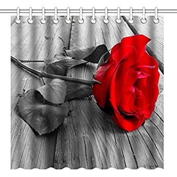 Amazon Com Wknoon 72 X 72 Inch Shower Curtain Awesome Red Rose