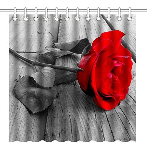 (Wknoon 72 x 72 Inch Shower Curtain, Awesome Red Rose Flower on The Old Grey Wood Floor, Waterproof Polyester Fabric Decorative Bath Curtains)