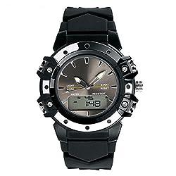 TOPCABIN Women Men Analog Digital LED Sport Dual Time Back Light Alarm Wrist Watch Black