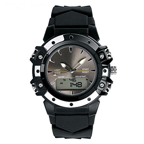 TOPCABIN Women Men Analog Digital LED Sport Dual Time Back Light Alarm Wrist Watch Black ()
