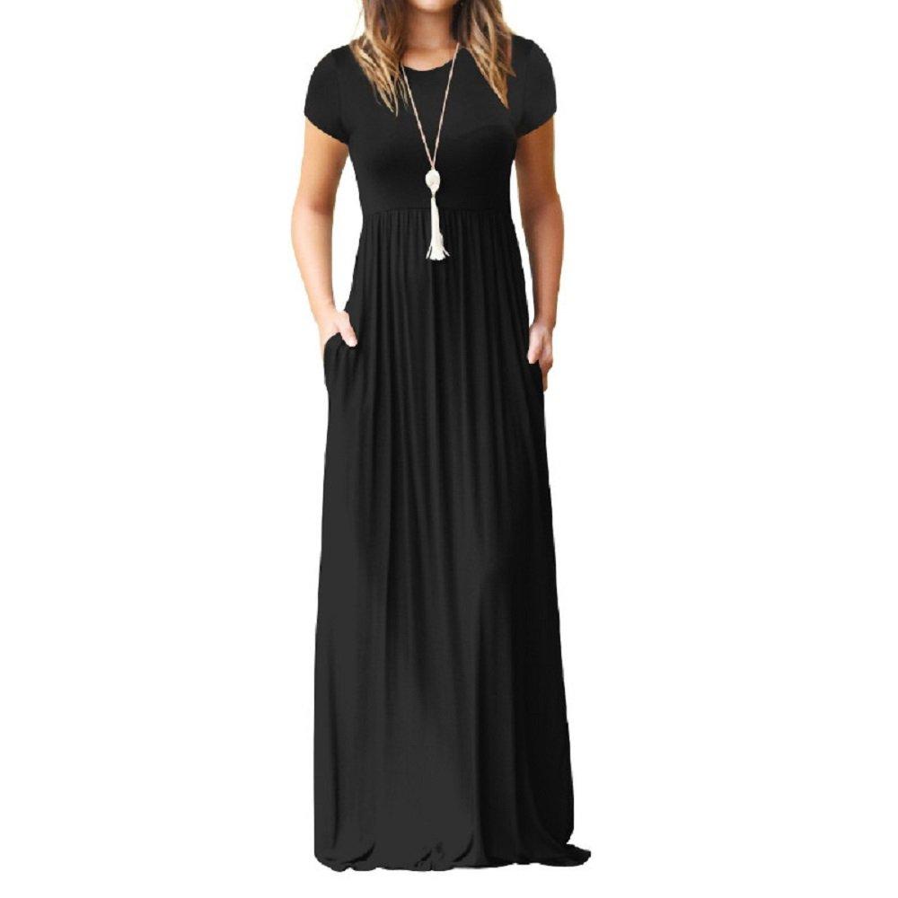 Primoda Women's Casual Maxi Dress with Pockets Plain Loose Swing Short Sleeve T-Shirt Long Dresses(Black,S) by Primoda