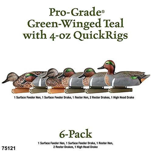 Teal Winged Green Duck - Greenhead Gear Pre-Rigged Pro-Grade Duck Decoy,Green-Winged Teal/4-oz Texas Rig,1/2 Dozen