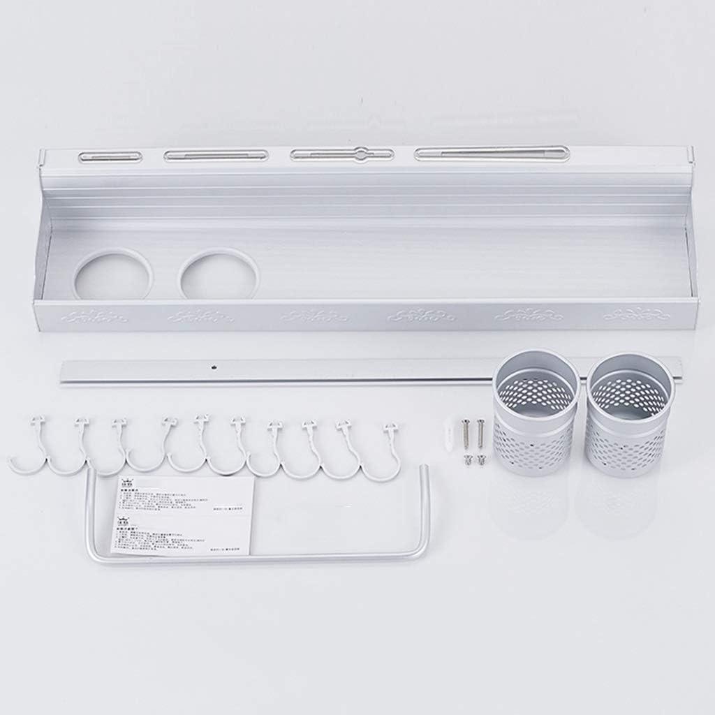 Estante de almacenamiento de toallas multifuncional plegable de doble capa de aluminio pintado en blanco con gancho-Longitud 40 CM Impermeable Completo F/ácil de instalar simplemente elegante