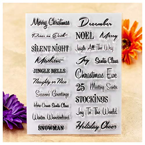 Kwan Crafts Words Merry Christmas Snowman Season's Greetings Clear Stamps for Card Making Decoration and DIY Scrapbooking (Merry Christmas And Happy New Year Greeting Card)