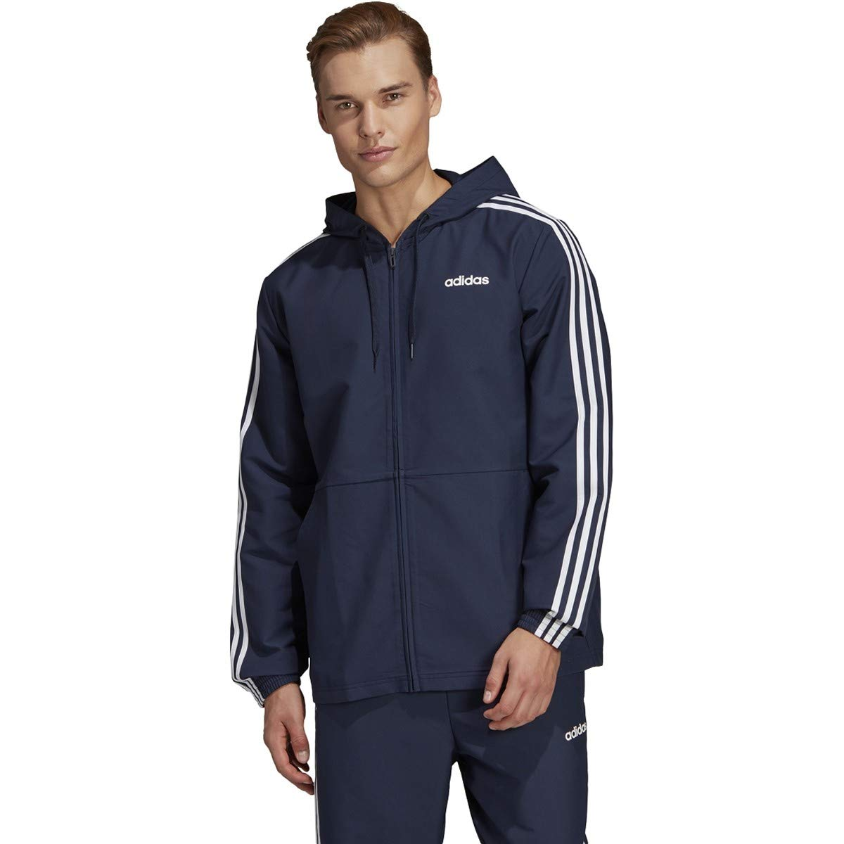 adidas Essentials Men's 3-Stripes Windbreaker, Legend Ink/White, MT by adidas