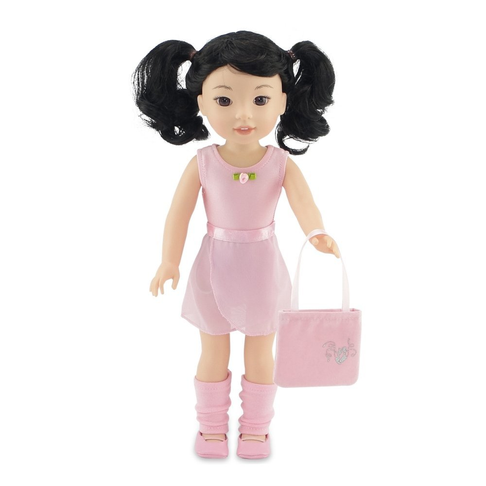 Emily Rose 14 Inch Doll Clothes | Doll Ballerina Ballet Practice Outfit, including Leotard, Skirt, Leg Warmers, Dance Shoes and Handbag | Fits 14 American Girl Wellie Wishers and Glitter Girls Dolls Emily Rose Doll Clothes