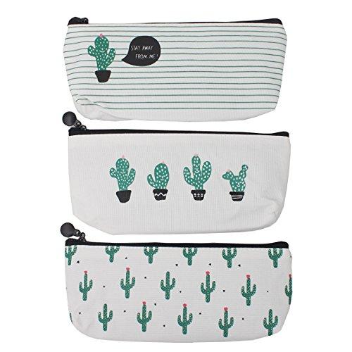 Zicome 3 Pack Canvas Cactus Pen Pencil Case Coin Purse Pouch Cosmetic Makeup Bag