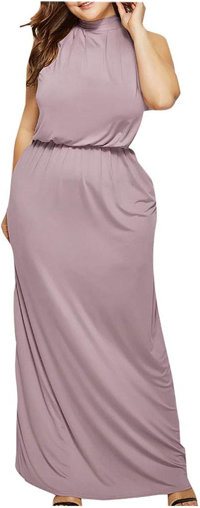 Smony Kleid Damen Abendkleider Große Größe Ärmellos O-Ausschnitt