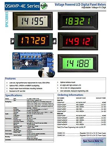Open Source Meter OSMVP-4E Miniature Digital Panel Meter 4 1/2 Digit LCD Display Voltage Input 10V 5V 200mV DC User Selectable Displayed Eng Units °F °C PSI% Decimal Points 3 Position Adjustable Span