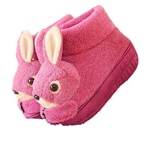 Pormow Winter Cartoon-Kaninchen Damen Hausschuhe Anti-Rutsch Hause Plüsch Slippers Warme Hausschuhe Lila