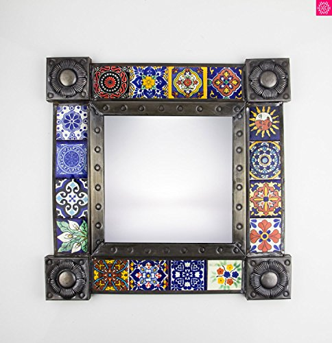 Handmade Mexican Talavera Tile Mirror, Talavera Ceramic Mexican Mirror, Handcrafted by Artisans, Imported 2 – Antiqued Bronze Color