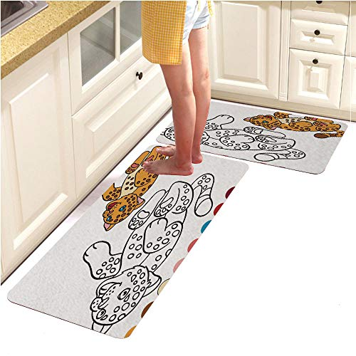 Alphabet Page Pebbles (Rugs Runner Rug -Non Skid Carpet Entry Rugs Runners for Kitchen and Entryway,Coloring Page with Colors Little Cute Baby Jaguar (15