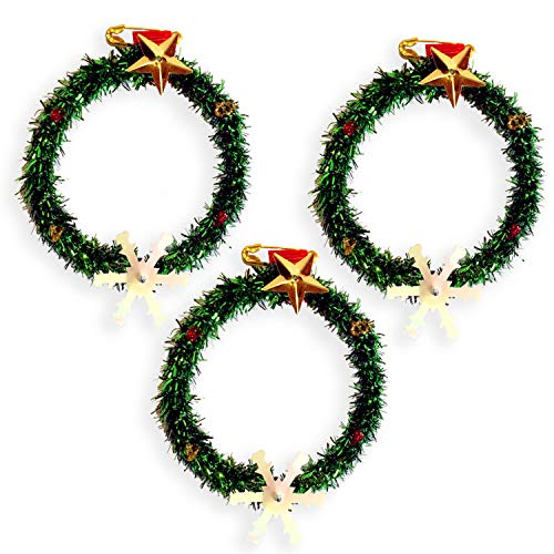 Mini Christmas wreath, small Handmade boxwood, Christmas mini-wreath, door ornament to decore or use on your Clothes in Christmas eve. Idea Christmas pin. Decore your Christmas Table. (Pack of 10) (Victorian For Sale Christmas Decorations)