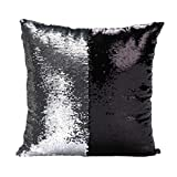 Emoyi Stylish Sequin Mermaid Throw Pillow Cover with Magical Color Changing Reversible Paillette Design Decor Cushion Pillowcase 16 X 16 Inch (Silver and Black)