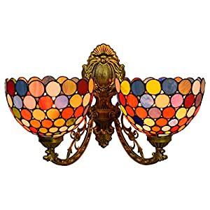 Vintage Tiffany Style 2-Head Wall Lamp, 8-Inch Bohemia Stained Glass Wall Lights for Bedroom Living Room Hallway Balcony, E27