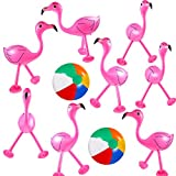 Trounistro 10 Pack Inflatable Toys Flamingo Inflatable Beach Balls for Hawaiian Party Luau Party Favors Accessories