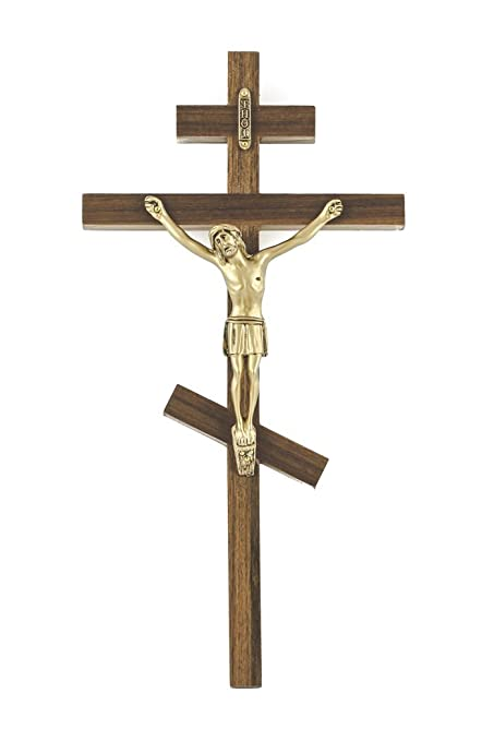 Walnut Wood Greek Orthodox Three Bar Cross Crucifix with Gold Tone Corpus,  10 Inch
