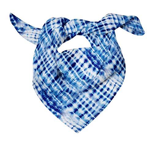 Bimba Blue Print Shibori Printed Pure Silk Scarf For Hair Neck Head Bandanas For Women 40 x 40 Inches