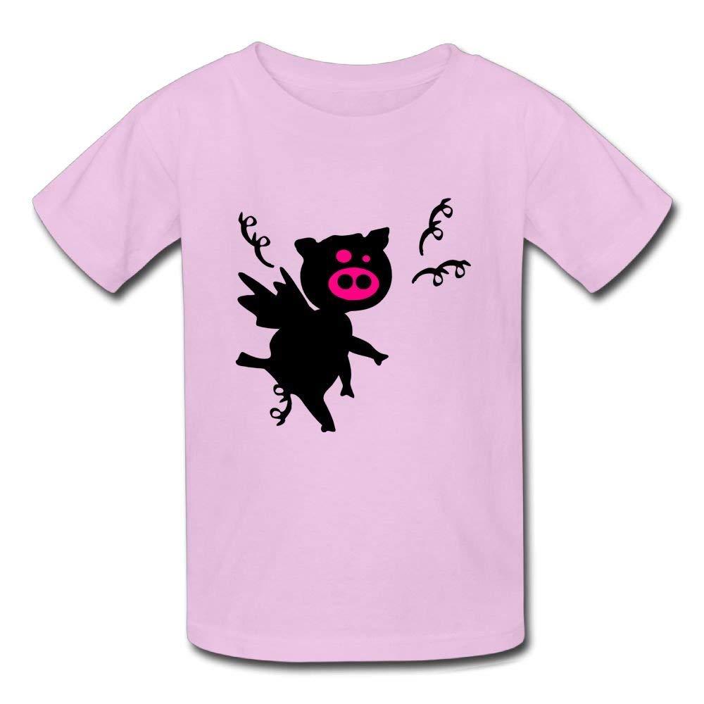 Moniery Cute Short-Sleeves Tee Black Pig Wings Birthday Day Baby Boys Toddler