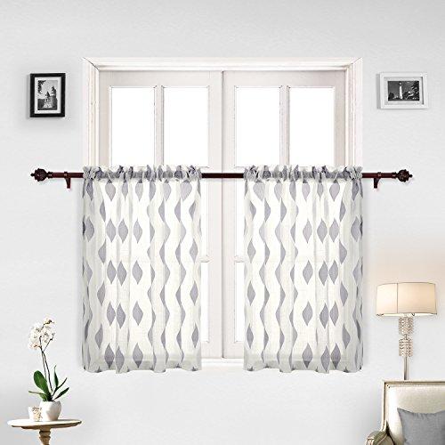 Jacquard Window - Deconovo Grey Curtains Jacquard Leaf Pattern Sheer Tier Curtains Cafe Tier Window Curtain Set 29 x 36 Inch Grey Leaf 2 Panels