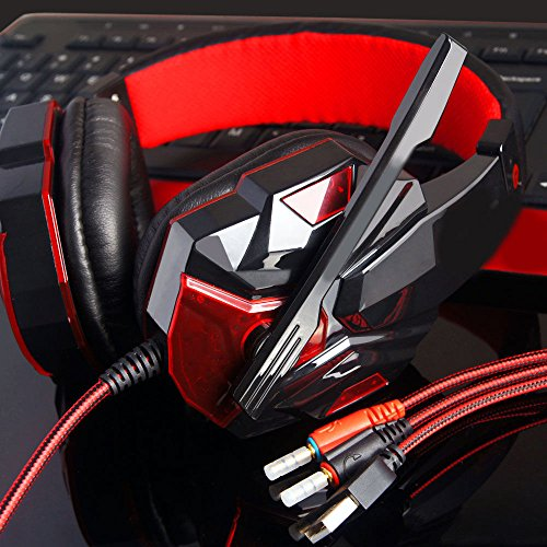 Anferstore Surround Stereo Gaming Headset Headband Headphone,USB 3.5mm Mic Noise Cancelling With LED Light,Suitable for Laptop, Mac, iPad, Computer etc (Red) by Anferstore (Image #2)