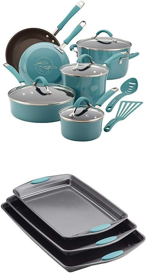 Rachael Ray 16344 12-Piece Aluminum Cookware Set, Agave Blue with Rachael Ray Nonstick Bakeware Cookie Pan Set, 3-Piece, Gray with Agave Blue Silicone Grips