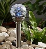 Solarleuchte Solar Kugel mit 1 weißen LED Edelstahl Glas Garten Deko Leuchte Bruchglas Mosaik