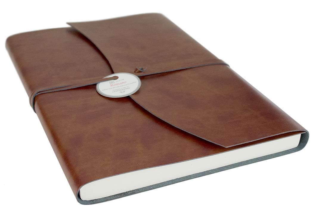 Romano Recycled Leather Journal Chestnut, A4 Plain Pages - Handmade in Italy by LEATHERKIND by LEATHERKIND