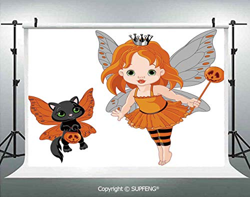 Photography Backdrops Halloween Baby Fairy and Her Cat in Costumes Butterflies Girls Kids Room Decor Decorative 3D Backdrops for Photography Backdrop Photo Background Studio Prop