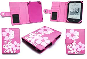 Emartbuy® Amazon Kobo Glo LCD Protector De Pantalla + Stylus Rosa + Floral Rosa Carpeta / Bolsa / Cubierta/ Funda Caliente