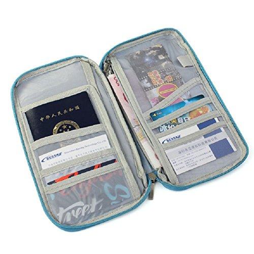 Coromose® Practice Travel Passport Credit ID Card Cash Holder Organizer Wallet Purse Case Bag (Blue)